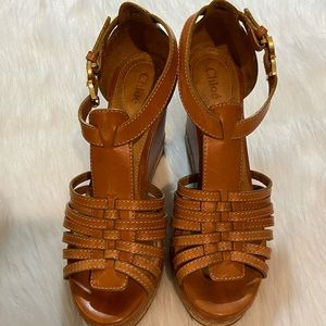 Chloe tan leather cage wedges